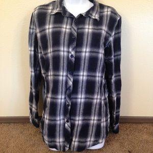 Indigo Plaid Flannel Shirt